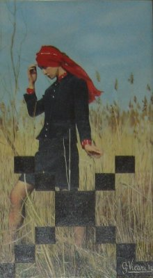 Donna con fazzoletto rosso 40x70 1974.jpg