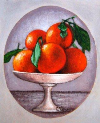 Fruttiera bianca con arance acrilico tela cm 15x18 2014.JPG