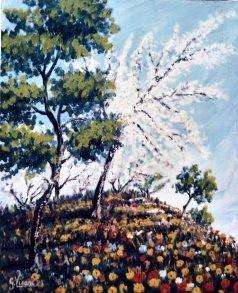 La collina fiorita 40x50 spatola 1985.JPG