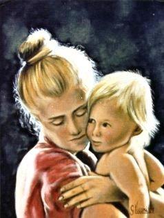 Mamma con figlio controluce 30x40 1987.JPG