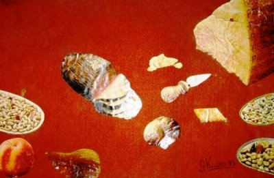 Natura morta con Parmiggiano collage su moquette 59x38 1975.jpg