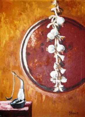 Natura morta con aglio spatola 60x80 1977.jpg