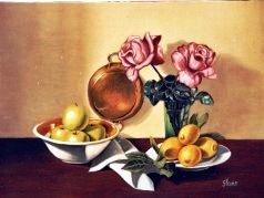 Natura morta con rose e frutta 80x60 1987.JPG