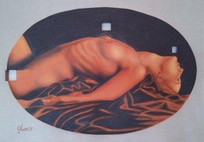 Nudo di donna olio su tela con buchi 70x50 1991.jpg